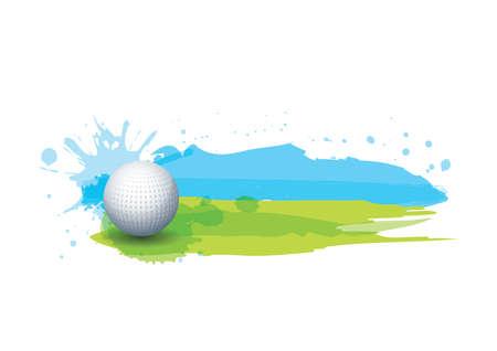 golfbal in golfbaan