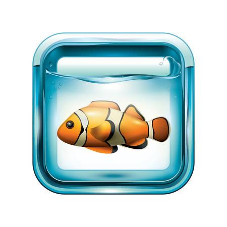 Clown fish in an aquarium illustration.