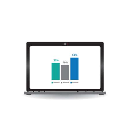 bar graph presentation on laptop Illustration