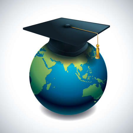 A globe with mortar board concept of success.