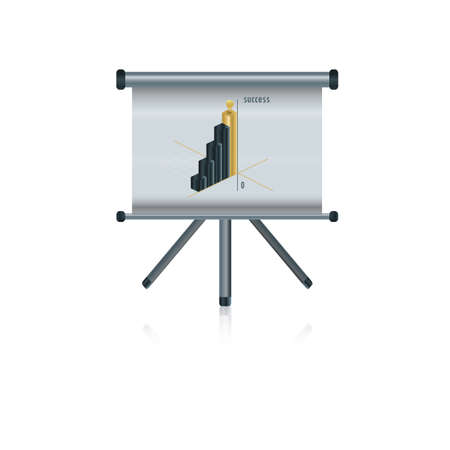 graph on projector screen Illustration