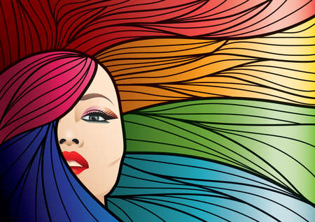 regenboog gekleurd kapsel Stock Illustratie