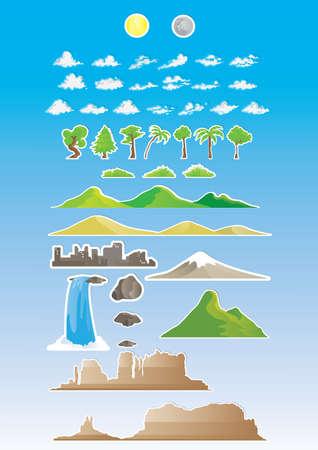 Sticker collection of nature landscapes Banco de Imagens - 81469983