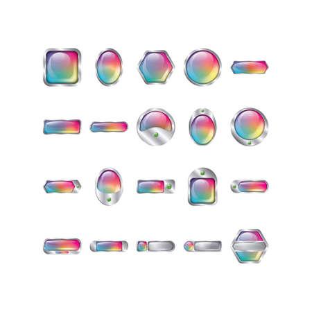 set of rainbow buttons Illusztráció