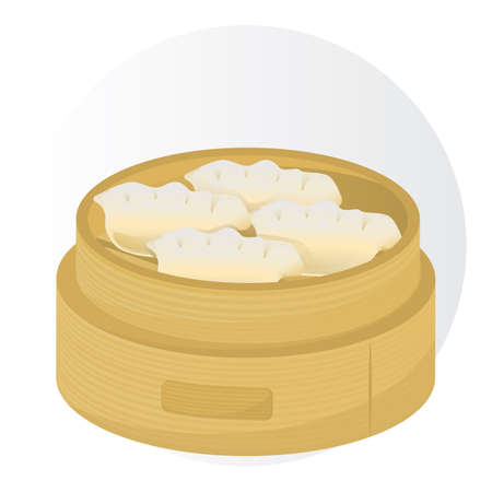 dumplings in a bamboo basket Illustration