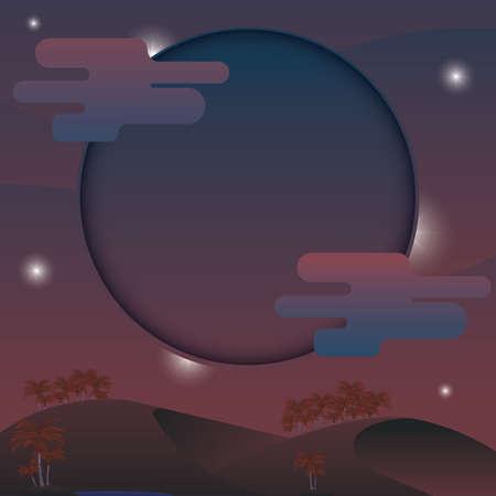 砂漠の図の夜景。