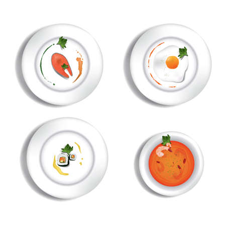 lekker eten restaurant set Stock Illustratie
