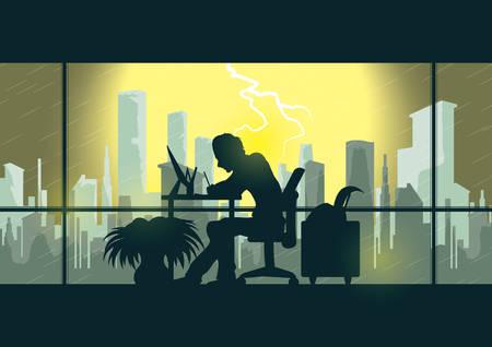man aan het werk in het kantoor