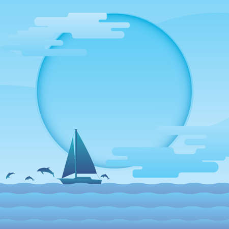A sailboat in sea illustration.