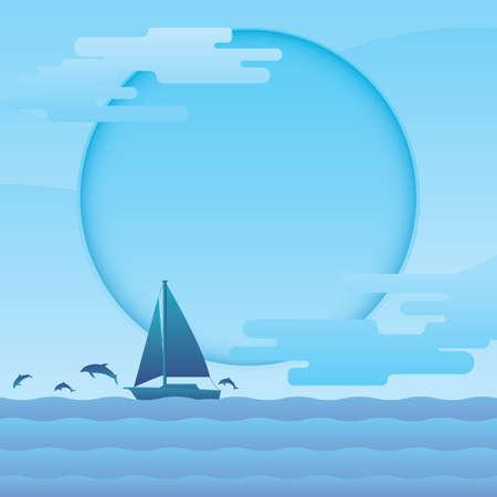 Een zeilboot in zee illustratie.