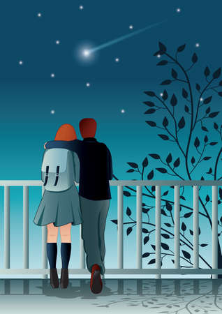 young couple is stargazing