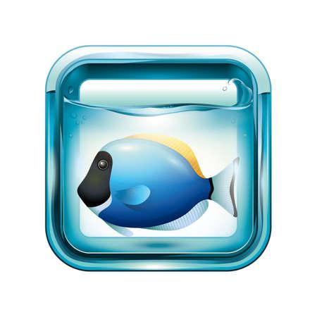A blue fish in an aquarium illustration.