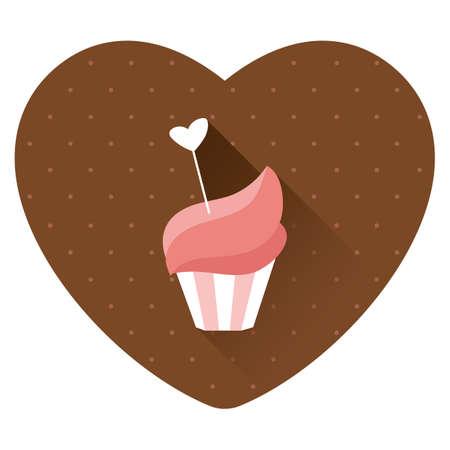 cupcake with heart Ilustração