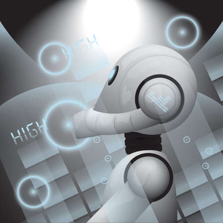 Robot playing with the dj mixer Illustration