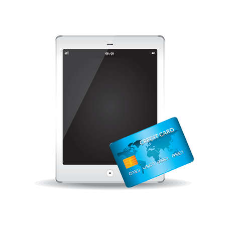 Tablet pc and credit card Иллюстрация