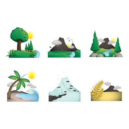 Collection of various scenic landscapes Ilustracja