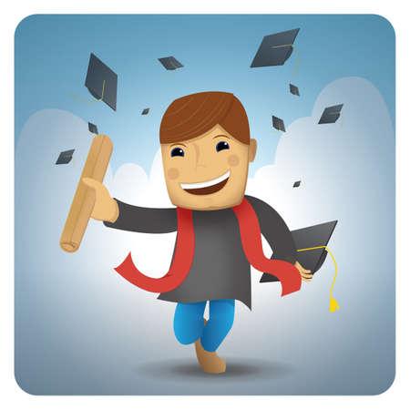 卒業証書と帽子の少年
