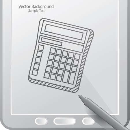 スタイラスがタブレットの電卓  イラスト・ベクター素材