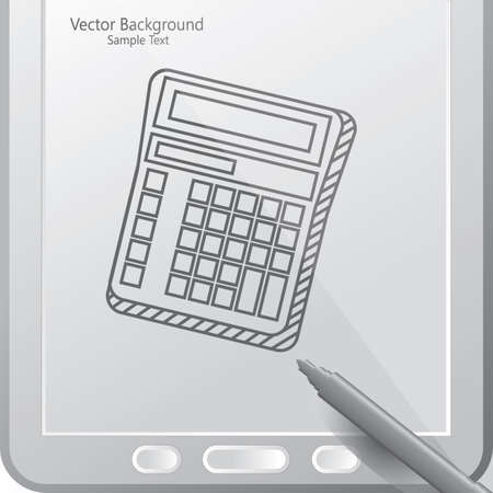 calculator in a tablet with stylus 向量圖像