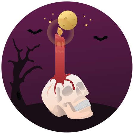 candle on skull 向量圖像