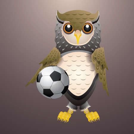 owl holding soccer ball