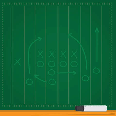 football tactics on green board Stock Vector - 106670419