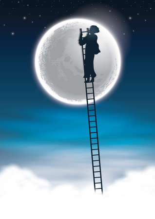 man climbing to the moon