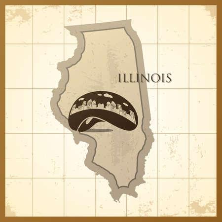 map of illinois state Illustration
