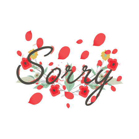 word sorry with floral petals