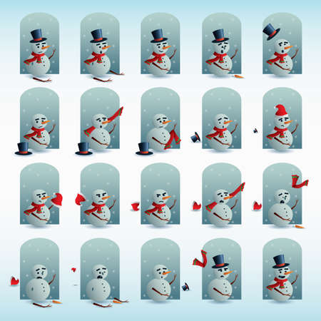 snowman with different expressions Illustration