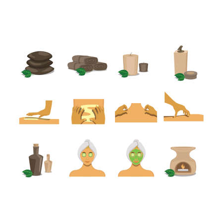 set of spa items Illustration