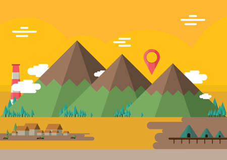 mountains landscape with location pointer Illustration