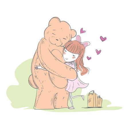 女の子を抱い熊  イラスト・ベクター素材