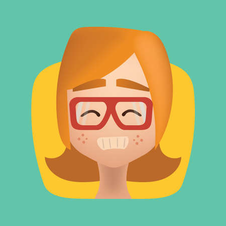 Girl with grinning Illustration