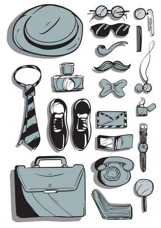 A retro style men's accessories illustration. Stock fotó - 81470383