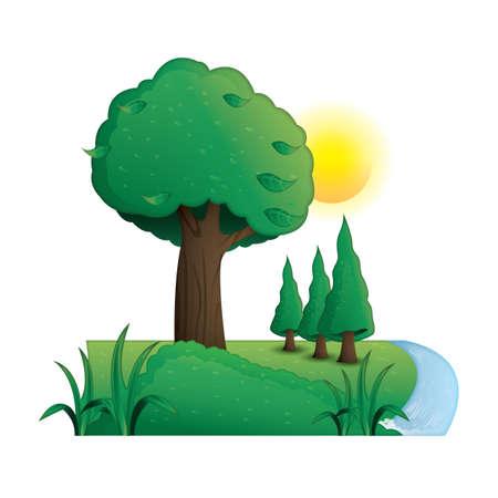 川の横にある木  イラスト・ベクター素材