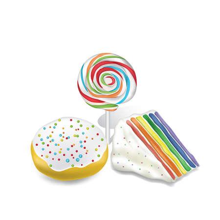 set of colorful dessert Ilustração