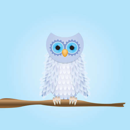 Owl perched on stem Ilustrace