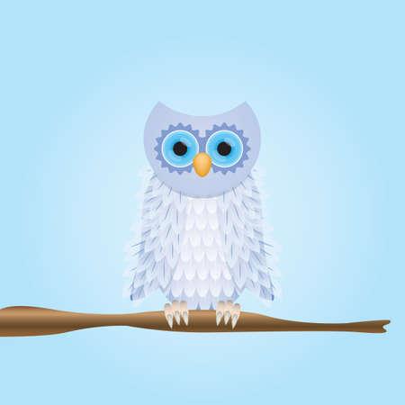 Owl perched on stem Illustration