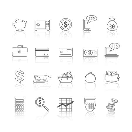 Een illustratie van geldpictogrammen.