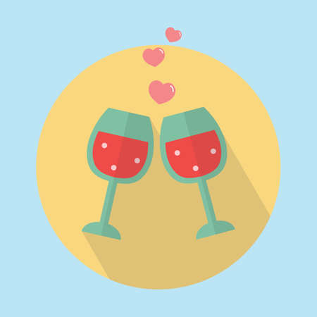 two glasses with hearts