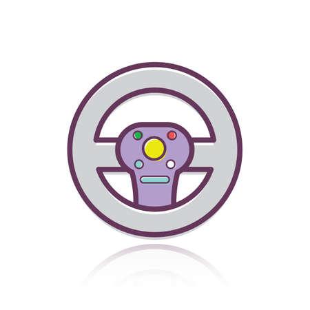 A steering wheel illustration.