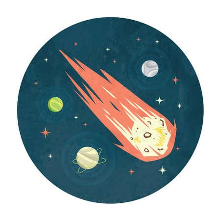 우주의 유성 일러스트