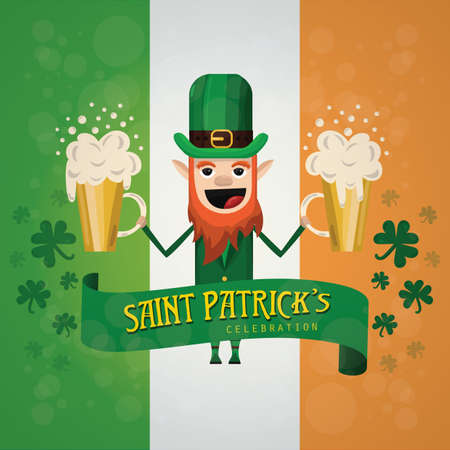 st patricks day poster with leprechaun holding beer