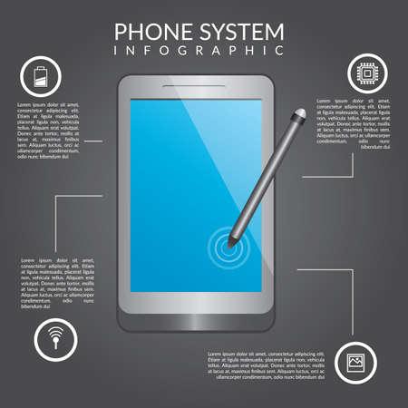 電話システムのインフォ グラフィック  イラスト・ベクター素材