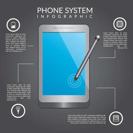 Phone system infographic Иллюстрация