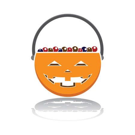 お菓子のバスケットをトリックオアトリート  イラスト・ベクター素材