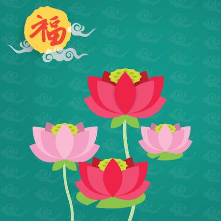 Chinese nieuwe jaar lotus groet ontwerp illustratie.