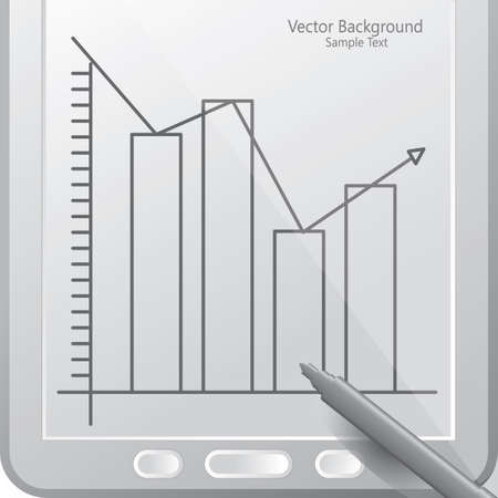 bar graph in a tablet with stylus Illustration