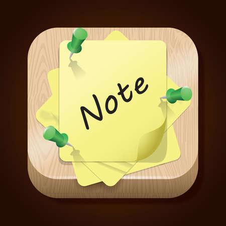 notitie met push pins Stock Illustratie